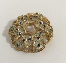 "Vintage Kramer Brooch/Pin Signed Gold Multi-Colored Rhinestones 1 3/4"""