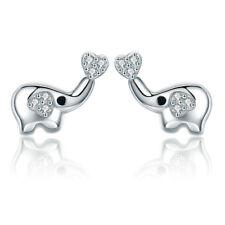 Lovely Elephant Post Stud Earrings S925 Silver Animal Earrings For Girls Women