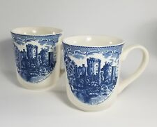 "(2) Johnson's Brothers England ""Ragland Castle"" in Blue White Coffee Mugs MINT"
