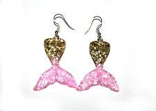 Hook Fantasy Jewelry Fairytale Jewellery Mermaid Tail Glitter Gold Pink Earrings