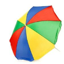 "6 FOOT 72"" RAINBOW PRIDE TILT BEACH UMBRELLA YELLOW RED GREEN BLUE + CARRY BAG"