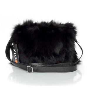 Genuine Black Fox Fur Crossbody Bag! Black Fur Shoulder Bag Real Fur Handbag FOX