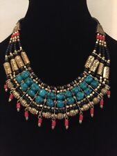 New Handmade Costume Boho Chic Tribal Necklace W/ Jade, Red, Black & Gold Beads