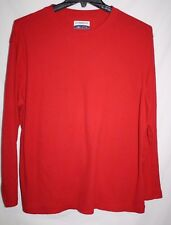 Magellan Outdoors Mens LARGE Pullover Red Waffle Knit Shirt Thermal Casual LS