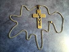 Vintage Retro Antiqued Bronze Cross Love Pendant And Long Necklace Coat Chain