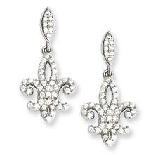 Brilliant Embers Sterling Silver & CZ Fleur De Lis Dangle Post Earrings