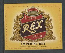1970s FITGERS REX BEER IMPERIAL DRY BOTTLE LABEL DULUTH MINN - UNUSED