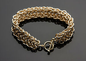 Vipera Berus Chain Maille Bracelet 14K Yellow Gold Filled 8 Inch Artisan Crafted