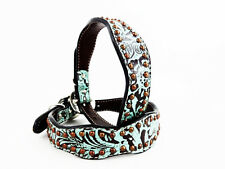 "12"" HANDMADE WESTERN STYLE TEAL ANTIQUED FLORAL LEATHER K9 CANINE DOG COLLAR"