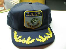 VTG SNAPBACK Fishing CAP BASS LIFE Hipster Gold Leaf Truckers Navy Mesh IP USA