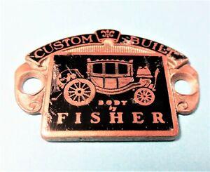 "GM 1930-'32 Brass Cloisonne ""Custom Built Body by Fisher"" lower Cowl emblem"