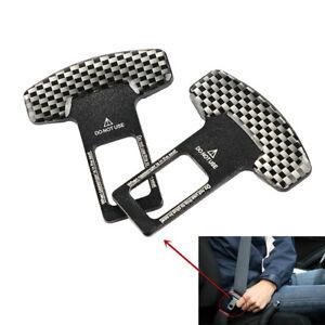 2pcs/Set Car Seat Belt Black Carbon Fiber Plug Buckle Stop Alarm Canceller Clip