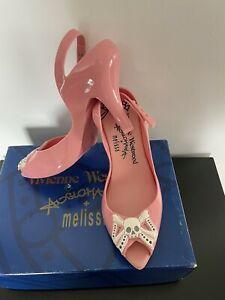 Pink Vivienne Westwood x Melissa Skull Bow Anglomania Shoes UK Size 7