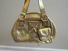 Juicy Couture Leather Purse Bright Metallic Gold Totally Secure Lucite Padlock