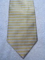 """BROOKS BROTHERS MEN'S TIE YELLOW AND SILVER STRIPES  4"""" X 58"""""""