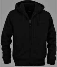 SCHOTT Jacket Trooper Army Cardigan Black Sherpa Zip Hood Acrylic Wool Knit XL
