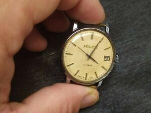 *SERVICED* Soviet vintage Watch Mechanical POLJOT CLASSIC USSR, date indicator.
