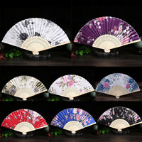 Women Vintage Bamboo Hand Fan Chinese Style Folding Silk Cloth Floral Party Gift