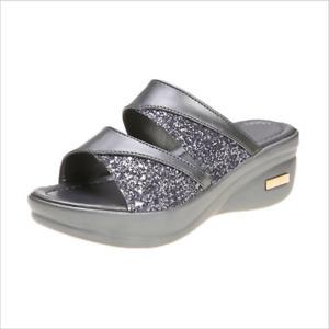 Womens Flat Sliders Sandals Wedges Mules Creeper Peep Toe Cosy Shoes Summer