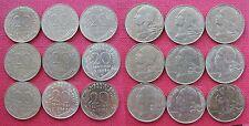 France 20 Centimes 1981, 1982, 1983, 1984, 1985, 1986, 1987, 1988, 1989