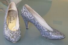 """Vintage 1950's Evins Made in Italy size 8 Silver Lace w/Black Netting 3"""" Heels"""