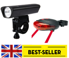 front & rear 5 LED bike lights set kit - black aluminium alloy light white & red