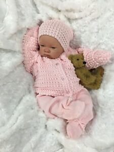 REBORN GIRL DOLL PINK KNITTED SPANISH OUTFIT & DUMMY c