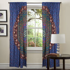 Bohomian Mandala Multi Color Tulle Sheer Voile Door Window Curtain Drape Valance