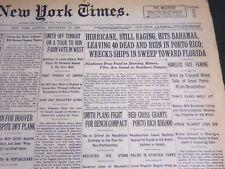 1928 SEPTEMBER 16 NEW YORK TIMES - HURRICANE STILL RAGING HITS BAHAMAS - NT 6923