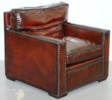 Restauré Vintage Hand Made in chelsea bordeaux cuir fauteuil partie de suite
