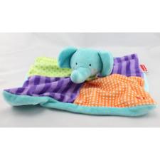 Doudou plat éléphant bleu violet vert orange FISHER PRICE - Eléphant Plat / Semi