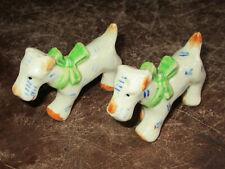 Cute Vintage Fox Terrier Dog Salt Pepper Shakers Japan Green Bows