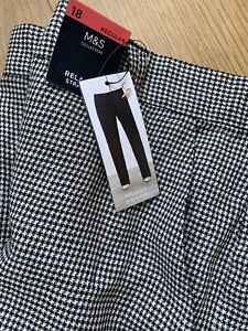 M&s Houndstooth Check Linen Rich Trousers Pants Sz 18 Bnwts