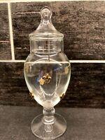 "Vtg MCM Mid Century Modern Glass Apothecary Jar Gold Fleur De Lis 8.5"""
