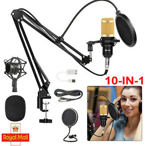 Studio Condenser Microphone Recording Broadcasting Podcast MIC W/ Stand for PC