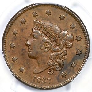 1837 N-3 PCGS AU 55 Med Letters Matron or Coronet Head Large Cent Coin 1c