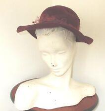 Vintage 70's Burgundy Felt Hat