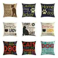18'' Home Dog Cotton Linen Pillow Case Sofa Car Waist Throw Cushion Cover Decor