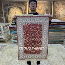 YILONG 2'x3' Oriental Hand Knotted Silk Area Carpet Quality Hand Craft Rugs 078B