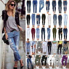 Women Ladies Celeb Stretch Ripped Skinny High Waisted Denim Pants Jeans Jeggings