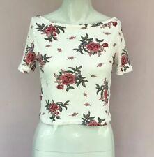 H&M Floral Top Size M 10 White Rose Rib Crop T-shirt Boat Neck Knit Vintage
