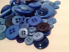 50g ASSORTED BLUES BULK BUTTON MIX CRAFT SCRAPBOOKS SEWING & CARDS