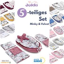 5tlg Baby Nestchen 2-seitig Kokon + Matratze 2xKissen MINKY Decke Reisebett ?SET