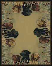 """HUNTING dogs LABRADOR 2x8 area rug RUSTIC lodge RUNNER : Actual Size 1'11""""x7'4"""""""