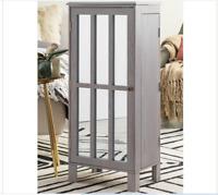 Gray Finish Freestanding Jewelry Armoire Box Storage Cabinet Chest Modern Glam