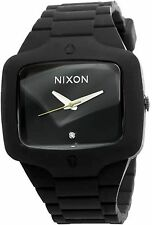 NEW Nixon A139-000 Men's Rubber Player Watch All Black Dial Rubber Strap 3 Hands