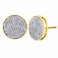 10K Yellow Gold Round Cut Diamond Large Circle Pave Stud 14mm Mens Earrings 1 Ct