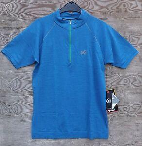 Millet Mens Woolblend Ts T-Shirt short Sleeve Men, Electric Blue Size S/M