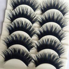 5Pairs Blue+Black Long Thick Cross False Eyelashes Handmade Makeup Eye Lashes