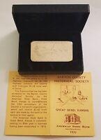 1970 FOSTER MINT 3 OZ .999 SILVER BAR ~ GREAT BEND KS ~ AMERICAN STATE BANK COA